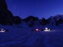 Zeltlager auf dem Gletscher beim Trident du Tacul